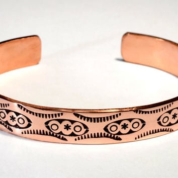 Southwestern Copper Cuff Bracelet Imprinted with Handmade Native American Metal Stamps and Rustic Free Spirited Artisan Craftsmanship