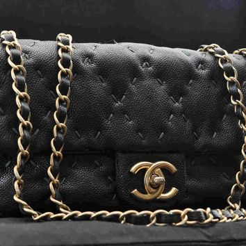 Authentic CHANEL Caviar Skin Wild Stitch Matelasse 25 Shoulder Bag Black #U317