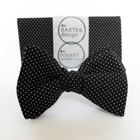 Groom's Wedding Set Self Tie Bow Tie and Pocket Handkerchief by BartekDesign: black white dots