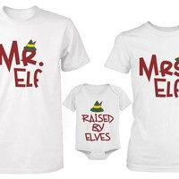 Cute Raised by Elves Family Shirt and Onesuit Family Shirts for Dad Mom and Baby