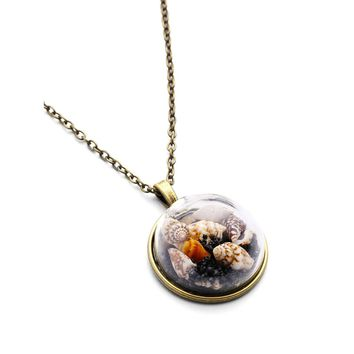 Brown Shell Pendant Long Necklace