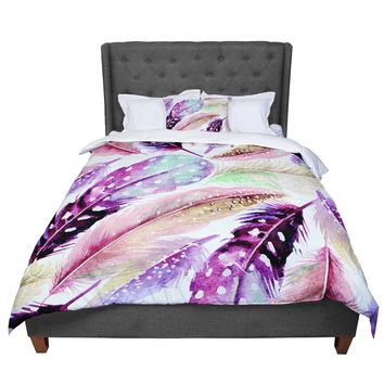 "83 Oranges ""Feathers"" Brown Purple Painting Comforter"