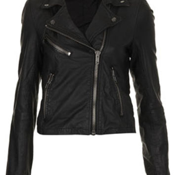 Shrunken Leather Biker Jacket by Boutique - Black