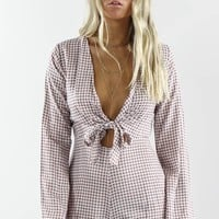 The Perfect Pair Gingham Front Tie Knot Romper