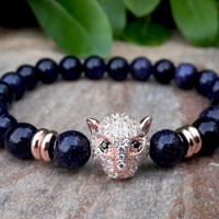 18k Gold Plated Swarovski Elements Leopard Head Mens Womens Bling Jewelry Gemstone Bracelet, Genuine Goldstone Charm Bracelet, FREE SHIPPING