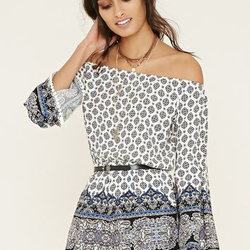 Off-the-Shoulder Ornate Romper