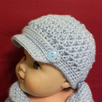 News boys crochet hat, soft, comfortable, winter cap with vizor and brim.