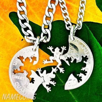 Frog Jewelry, Friendship necklaces, animal lovers hand cut coin