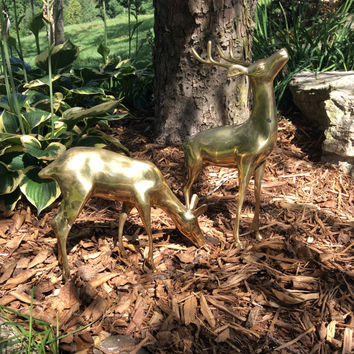 Vintage Pair of Extra Large Brass Deer // Brass Buck and Grazing Doe // Brass Stag and Doe // Vintage Brass Statues