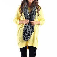 Slouchy Dolman Tunic, yellow