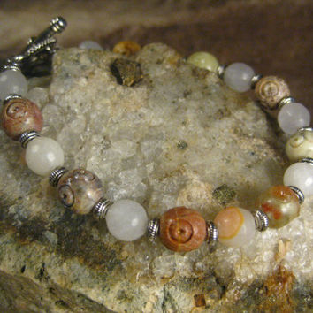 Carved Soapstone Natural Quartz Bracelet, Handmade Jewelry, Gifts for Her from The Hidden Meadow