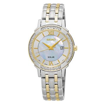 Seiko Womens Solar Classic Diamond Dress Watch - Two-Tone - Mother of Pearl