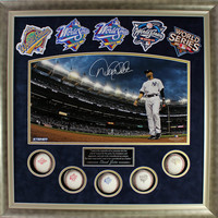Derek Jeter Signed World Series Titles Framed Collage w 5 WS Balls and 5 WS Patches (24x24 7434)