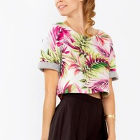 Tropical Palm Leaf Print Crop Top