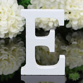 Decorative Wood Letters,Totoo Hanging Wall 26 Letters Wooden Alphabet Wall Letter for Children Baby Name Girls Bedroom Wedding Brithday Party Home Decor-Letters (E)