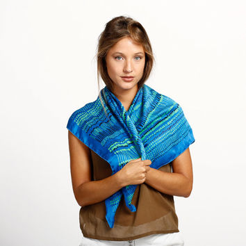 Hand printed silk scarf, Blue Black and Green African inspired design by Dikla Levsky