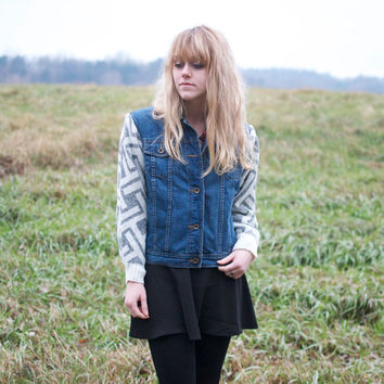 Upcycled Denim Jacket with Geometric Sweater Sleeves - M