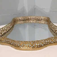 Large, Vintage, Vanity Mirror, Mirror Tray, Brass Plated, Filigree,  Bedroom, Bathroom, Home Decor, RhymeswithDaughter