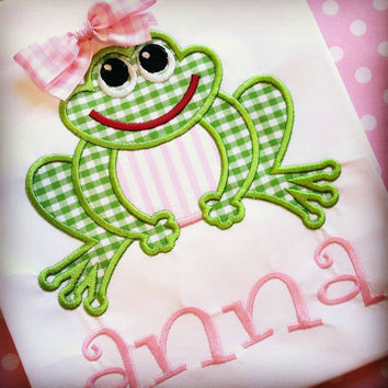 Girls frog shirt-affordable applique-free monogram-seersucker gingham spring applique-preppy girls beach shirt-pink green girls shirt