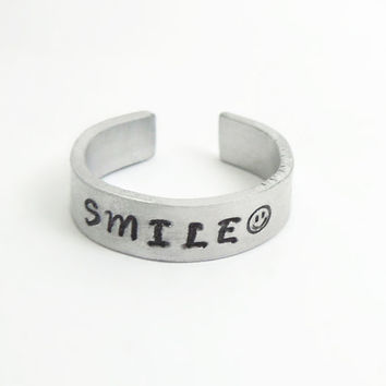 Hand stamped smile ring smiley face ring - Aluminum ring - Adjustable ring - Jewelry for men Jewelry for women