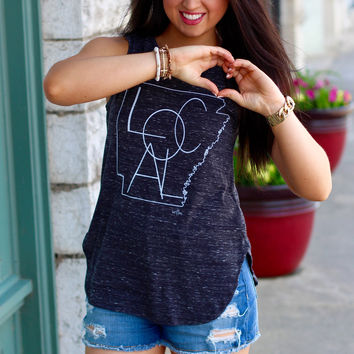 """AR State Outline """"Local"""" Muscle Tank {Black}"""