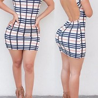 Multicolor Plaid Cut Out Backless Band Collar Bodycon Club Mini Dress
