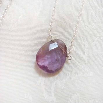 Amethyst Faceted Briolette necklace - Sterling Silver or Gold Filled Chain with semi-precious gemstone - dainty, natural gem