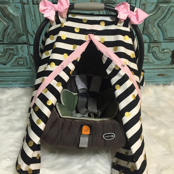 Carseat Canopy Carseat Cover Black Gold and Light Pink STUNNING