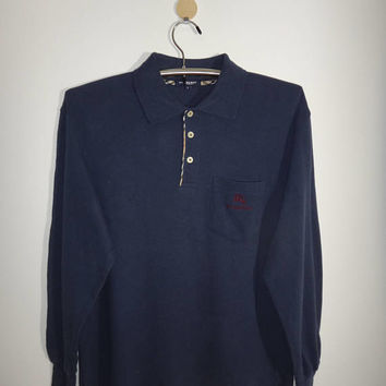 Burberrys London Polos T Shirt Blue Navy Long Sleeve Tshirt Minimalist 60s Stylish Fashion Embroidered Logo Stitch