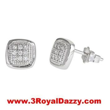 Men Square bumper style micro pave with CZ .925 Sterling Silver Stud  Earrings