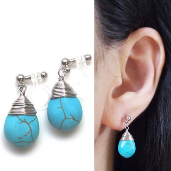Turquoise Clip on Earrings, Blue Turquoise Teardrop Invisible Clip on Earrings, Pear Blue Gemstone Clip Earrings, Non Pierced Earrings