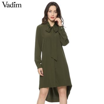Women army green neck bow tie dress stand collar long sleeve loose dresses Femininas summer casual bow tie vestidos mujer