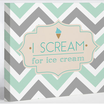 I Scream for Ice Cream - Turquoise Gray Cream Canvas Wall Decor by OneBellaCasa.com