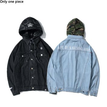 AAPE hot seller couple splice camouflage removable hooded wash denim jacket jackets