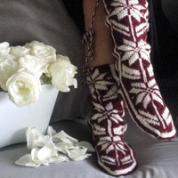 Christmas Gift, Winter Booties, Long Slippers, Cozy, Wool Socks, Mukluk, Long Slippers, Holidays