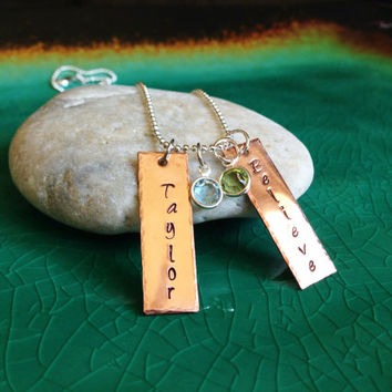 Handstamped Personalized Copper Metal Name Tags on a Sterling Silver Necklace with Two Swarovski Crystal Birthstone Charms, Handmade