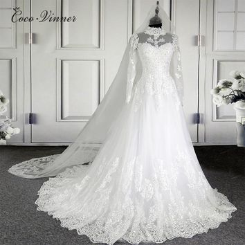 C.V  New High Neck Illusion Lace Wedding Dresses 201 Ball Gown Mousseline Long Sleeve Vintage Quality Bridal Wedding Dress W0207