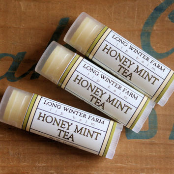 Honey Mint Tea Lip Balm  One Tube Beeswax Shea by LongWinterSoapCo