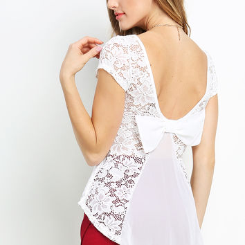 Back Ribbon Lace Overlay Top