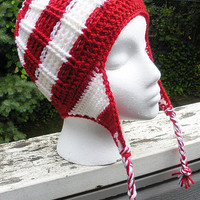 Candy Cane Striped Crochet Beanie, red and white Waldo hat with earflaps, infants - adults, MADE TO ORDER.