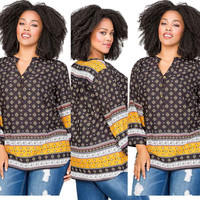 Plus Size African Print Long Sleeve Top