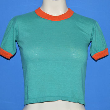 70s Teal Orange Blank Ringer t-shirt Youth Large