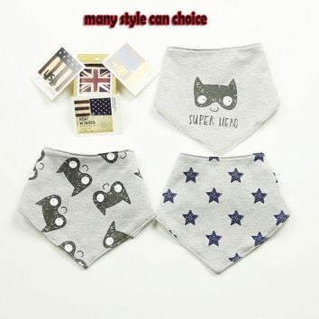 DCCKL3Z 3 Pcs High Quality Fashion Brand Newborn Baby Bibs Waterproof Kids Girls And Boys Cotton Triangle Children Feeding Accessories