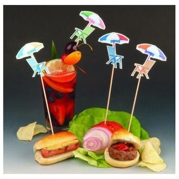 Beach Chair W/Umbrella Party Picks