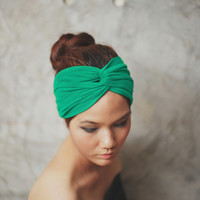 Chrismas Green, Turban Twist headband, Plain color collection, (1) HTW-P17