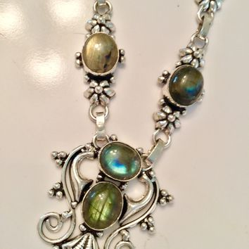 Bohemian Labradorite sterling silver necklace and earrings set