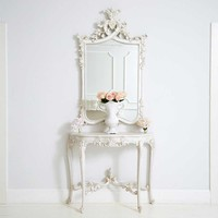 Provencal Heart Top White Mirror | Luxury Mirror