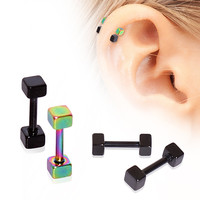 PVD Plated 316L Cubed Cartilage Earring