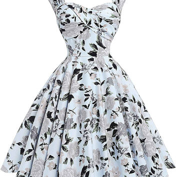 2017 Summer Women Dress Robe Rockabilly 50s Vintage Dresses Plus Size Retro Casual Party Gowns Vestidos Floral Dress Sexy Hollow