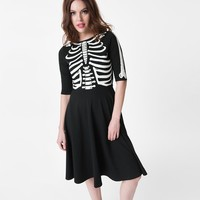 Unique Vintage Black Glow In The Dark Skeleton Graves Swing Dress